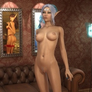 Beautiful skinny elf girl posing nude