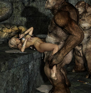Lara Croft dick sucking. Hard giant cocks inside elves' sexy slim bodies. Elves chocking with cum and moaning from pleasure.