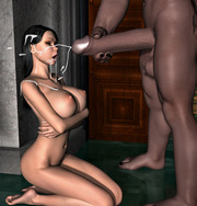 Tanned sexy brunette abused by ugly demon - 3d fantasy porn