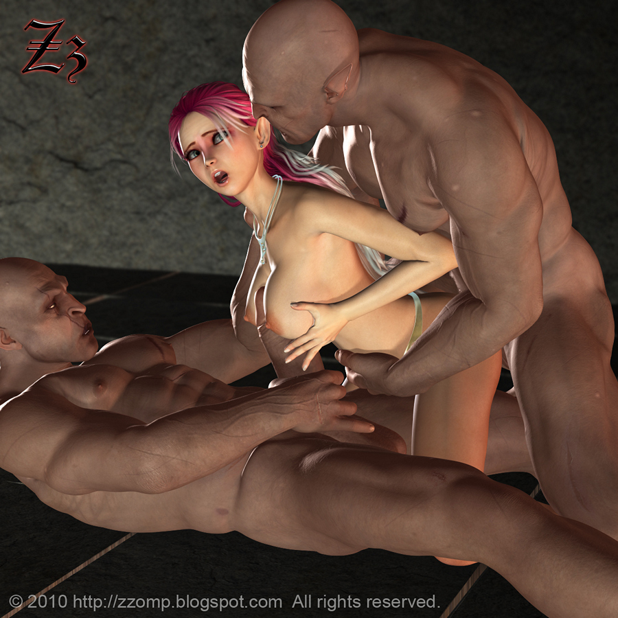 Purple haired naked slut is forced to suck a huge monster