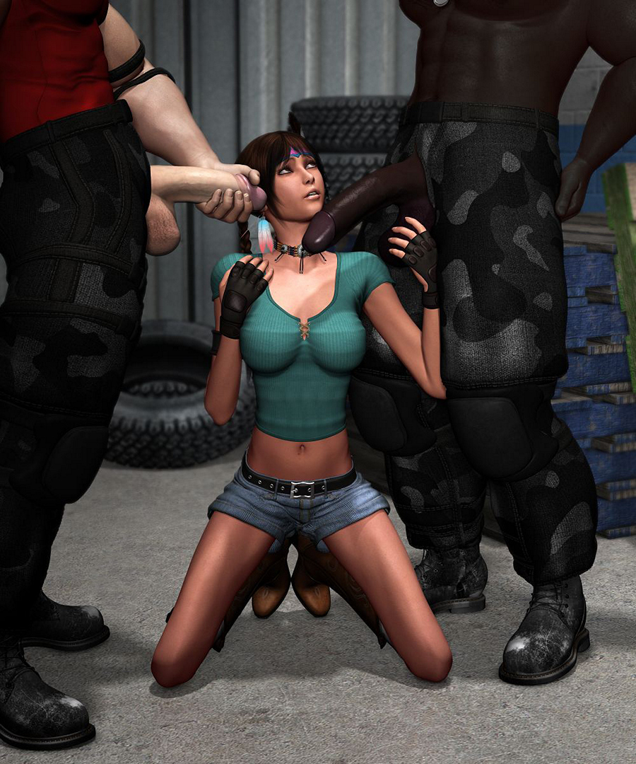 Slutty elf girl gets nailed two guys