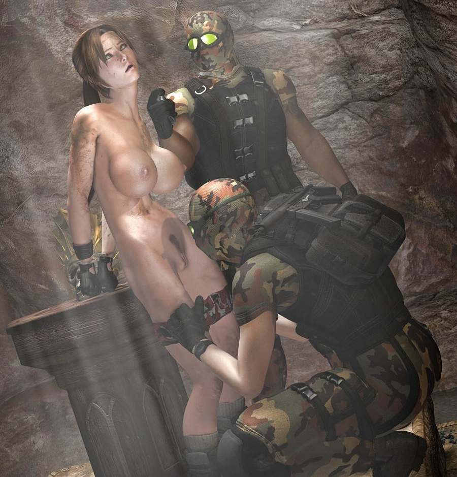 3d Forced Sex Cartoon - Lara Croft fucked by one black guy and takes white cock into her deep  throat.