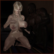 Hot milfs chained in 3d BDSM interracial