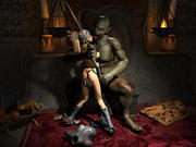 Awful creatures eager to taste sweet warrior babes