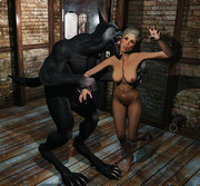 Awful demon destroys young tanned fantasy babe - 3d porn