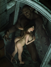 No escape- Unlucky ultra busty babe trapped between maniac monster rapists