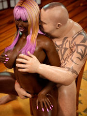 Interracial - young black girl sucks fat white cock