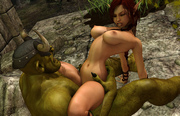 Ultra horny 3D fantasy babes teasing ugly monsters