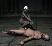 Hot charming ebony night elf showing her body