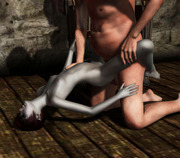 Busty naked 3D extreme babe masturbating with a sword - xxx gallery