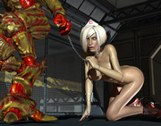 Tied and fucked into all holes - 3d monster pics