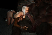 3d monster pic of red-hot babe taking on three dicks
