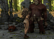 Nude humans against horny ugly creatures - 3d porn pics collection