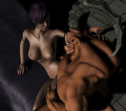 Imperative 3d anime rape quean being assaulted by a pair of goblins