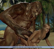 Frightening ogre fingers she-elf's pussy before entering it with its cock