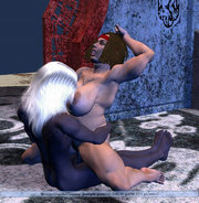 Hot night elf babe getting her pussy fingered