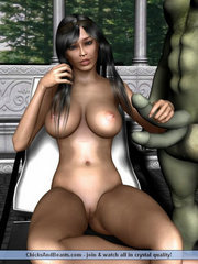 Cute ebony babe abused by zombies with giant cocks - 3d monster sex comics porn xxx