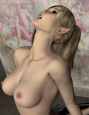 Beautiful elf moans of pleasure while her friend laps her pussy with his tongue.